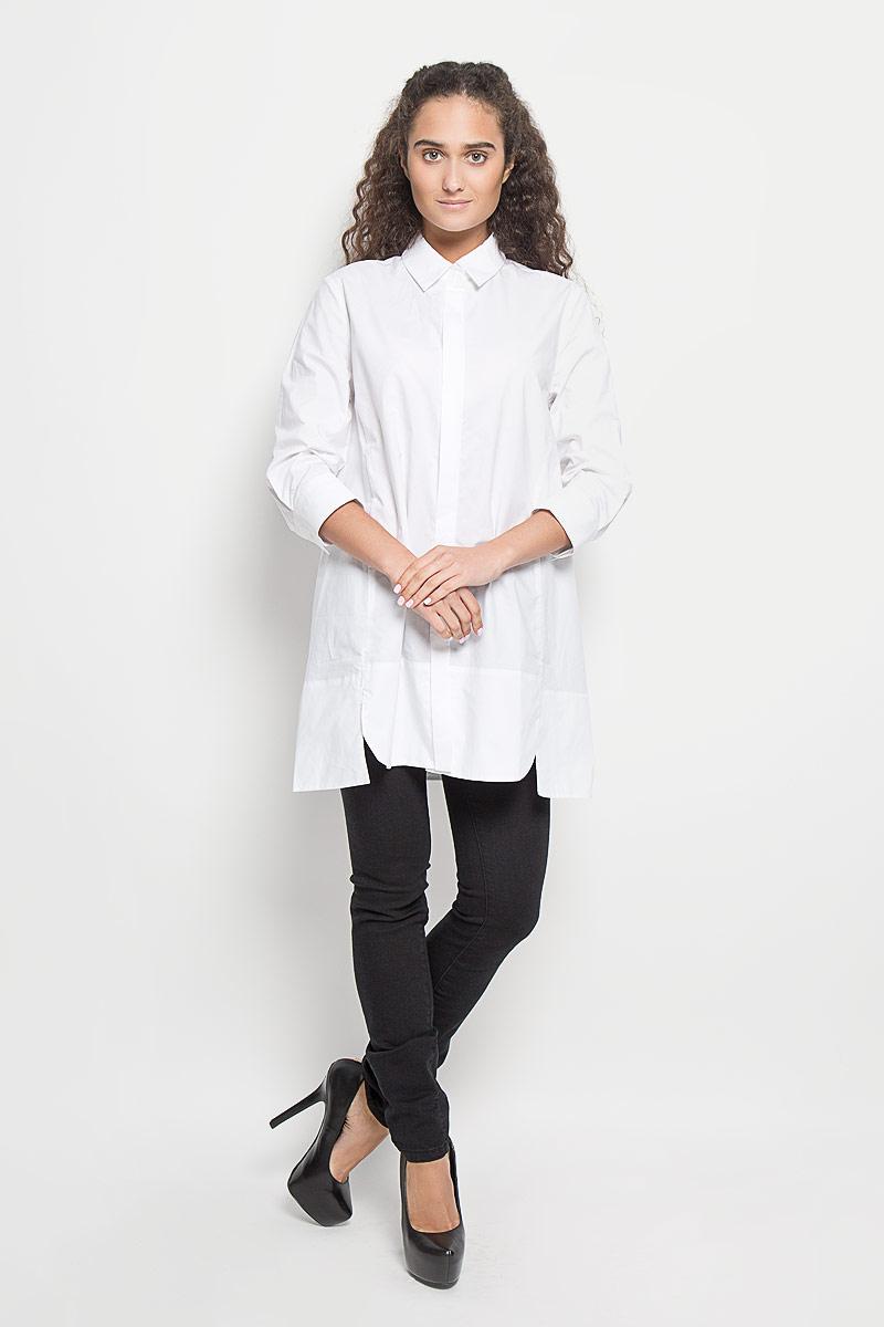 B176516_WhiteБлузка Baon, изготовленная из натурального хлопка, подчеркнет ваш уникальный стиль. Материал изделия легкий, тактильно приятный, не сковывает движения и позволяет коже дышать, обеспечивая комфорт при носке. Удлиненная блузка с отложным воротником и рукавами 3/4 застегивается спереди на пуговицы. На манжетах предусмотрены застежки-пуговицы. По бокам модель дополнена двумя небольшими разрезами. Такая блузка станет модным и стильным дополнением к вашему гардеробу!