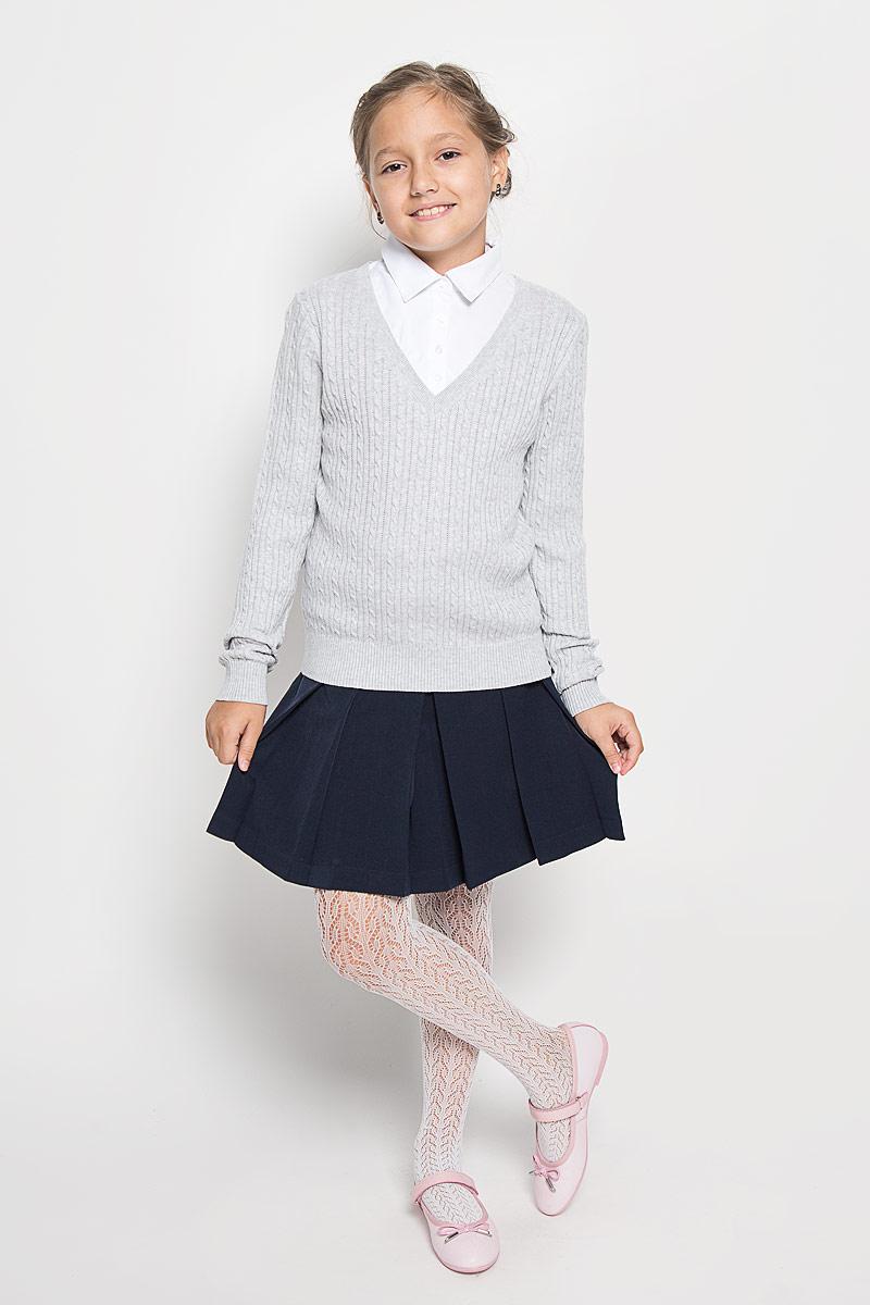JR-614/876-6311Стильный трикотажный джемпер для девочки Sela идеально подойдет для школы и повседневной носки. Изготовленный из высококачественного комбинированного материала, он необычайно мягкий и приятный на ощупь, не сковывает движения ребенка и позволяет коже дышать, не раздражает даже самую нежную и чувствительную кожу ребенка, обеспечивая наибольший комфорт. Джемпер с длинными рукавами и отложным воротником сверху застегивается на четыре пластиковые пуговицы. Манжеты, планка и низ модели связаны резинкой. Верхняя часть модели выполнена в виде ворота рубашки за счет чего создается эффект два в одном. Модель оформлена оригинальным узором. Этот удобный и модный джемпер, несомненно, впишется в гардероб вашей дочурки, в нем она будет чувствовать себя уютно и комфортно.