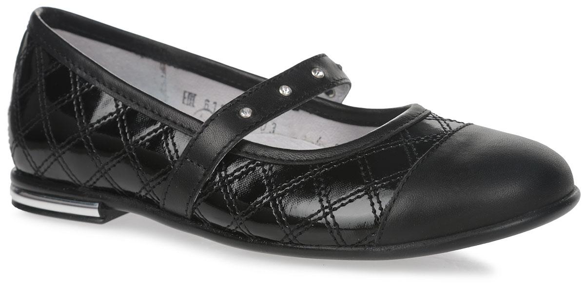 6-612891603Стильные туфли от Elegami придутся по душе вашей юной моднице! Верх модели изготовлен из искусственного лака, оформленного прострочкой, мыс - из натуральной кожи. Стелька из натуральной кожи дополнена супинатором, который обеспечивает правильное положение ноги ребенка при ходьбе, предотвращает плоскостопие. Ремешок на резинке, декорированный стразами, надежно зафиксирует изделие на ноге. Каблук украшен металлической вставкой. Удобные туфли - незаменимая вещь в коллекции каждой девочки.