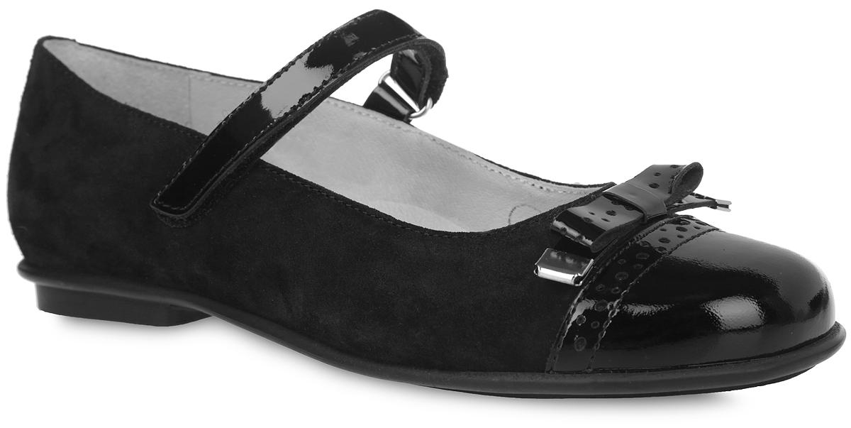 Туфли518931602Чудесные туфли от Elegami понравятся вашей юной моднице с первого взгляда. Модель выполнена из натуральной замши. Мыс, дополненный вставкой из натуральной лакированной кожи, декорирован бантом. Подкладка и стелька из натуральной кожи гарантируют комфорт и уют. Стелька дополнена супинатором, который обеспечивает правильное положение ноги ребенка при ходьбе, предотвращает плоскостопие. Подошва и каблук дополнены рифлением.