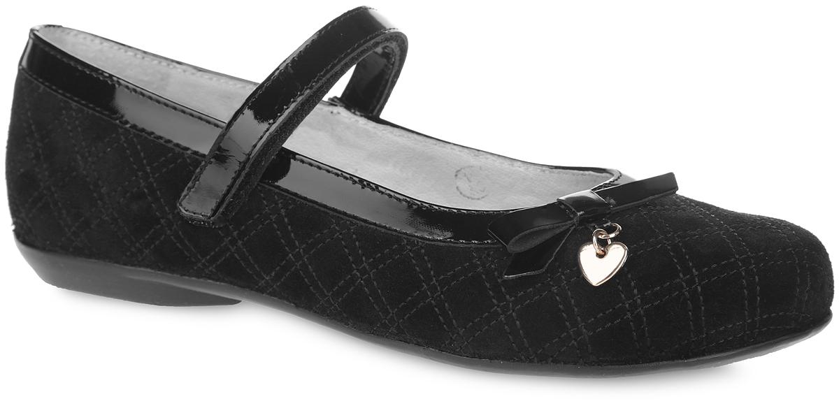 Туфли для девочки. 5-5190216025-519021602Чудесные туфли от фирмы Elegami понравятся вашей юной моднице с первого взгляда. Модель выполнена из натурального велюра и лака. Мыс декорирован бантом с подвеской в форме сердечка. Подкладка и стелька, изготовленные из натуральной кожи, предотвратят натирание и гарантируют уют. Лаковый ремешок на застежке-липучке надежно зафиксирует туфельку на ножке. Стелька дополнена супинатором, который обеспечивает правильное положение ноги ребенка при ходьбе, предотвращает плоскостопие. Подошва, выполненная из ТЭП-материала, оснащена рифлением для лучшего сцепления с различными поверхностями. Стильные и удобные туфли - незаменимая вещь в гардеробе каждой школьницы.