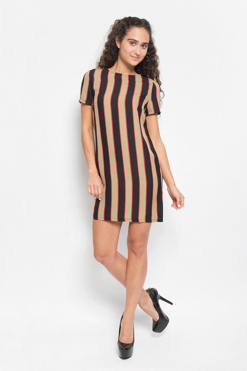 ПлатьеJL4597B_Stone Black Red StripeМодное платье Glamorous, выполненное из полиэстера, подчеркнет ваш уникальный стиль и поможет создать оригинальный женственный образ. Платье-мини свободного кроя с круглым вырезом горловины и короткими рукавами оформлено принтом в полоску. Застегивается изделие на длинную металлическую застежку-молнию, расположенную на спинке. Такое платье станет стильным дополнением к вашему гардеробу. Оно подчеркнет вашу индивидуальность и утонченность.
