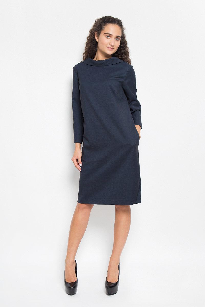 B405_DARK NAVYСтильное платье Baon подчеркнет ваш уникальный стиль и поможет создать оригинальный женственный образ. Модель, изготовленная из хлопка и полиэстера с добавлением эластана, приятная на ощупь. Платье-миди свободного кроя с воротником-стойкой и рукавами 7/8 застегивается сзади на пуговицу. Низ рукавов дополнен небольшими разрезами. Такое платье станет стильным дополнением к вашему гардеробу.