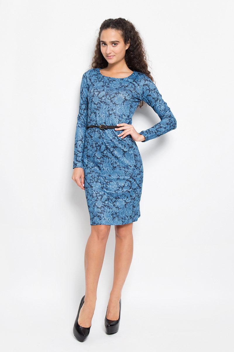 ПлатьеDK-117/1039-6393Модное платье Sela, выполненное из полиэстера с добавлением эластана, оформлено цветочным принтом. Материал изделия мягкий и приятный на ощупь. Платье-миди с круглым вырезом горловины и длинными рукавами придется вам по душе. Модель дополнена плетеным ремнем с металлической пряжкой. Такое платье станет стильным дополнением к вашему гардеробу, оно подарит вам комфорт в течение всего дня!