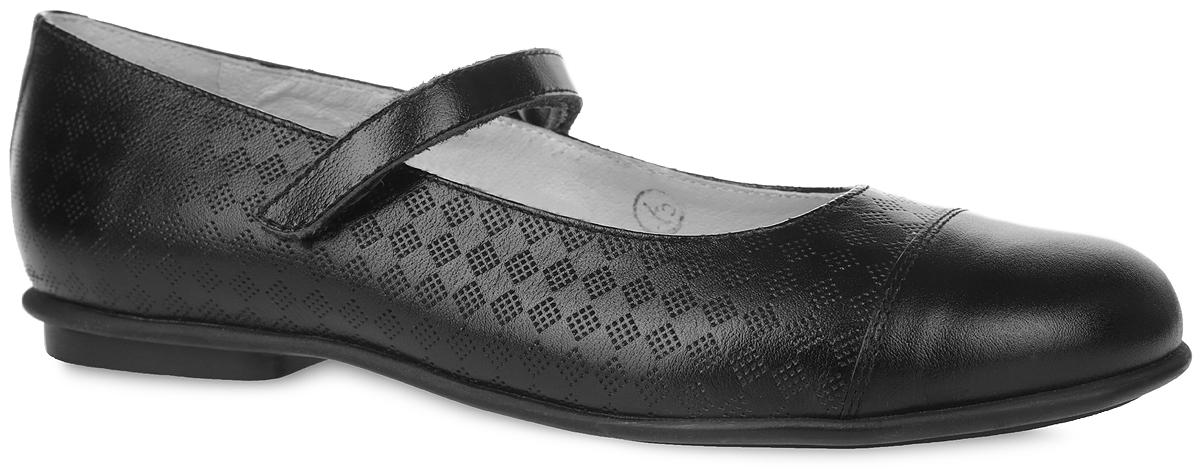 3/4-515731603Стильные туфли от Elegami придутся по душе вашей юной моднице! Верх модели изготовлен из натуральной кожи и оформлен декоративным тиснением. Стелька из натуральной кожи дополнена супинатором, который обеспечивает правильное положение ноги ребенка при ходьбе, предотвращает плоскостопие. Ремешок с застежкой-липучкой надежно зафиксирует изделие на ноге. Удобные туфли - незаменимая вещь в коллекции каждой девочки.