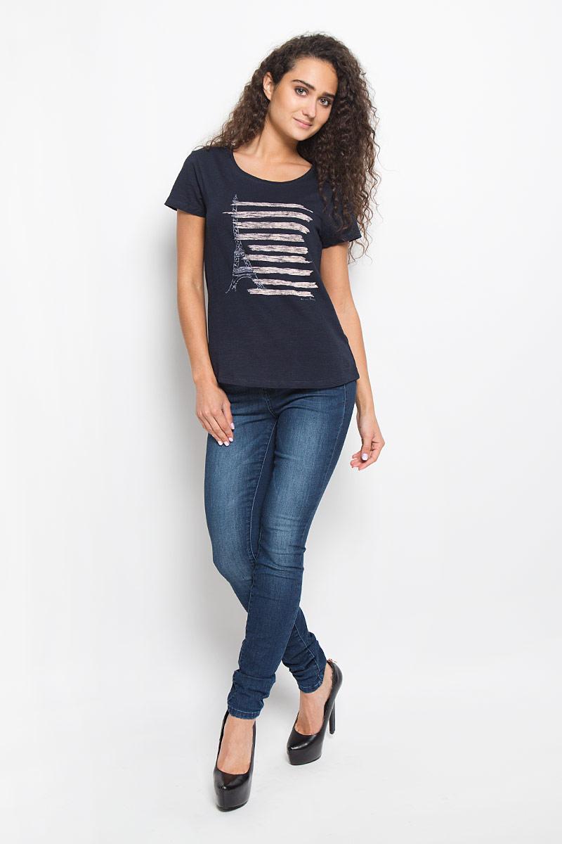 Футболка1035524.01.71_6901Стильная женская футболка Tom Tailor Denim, выполненная из 100% хлопка, поможет создать отличный современный образ в стиле Casual. Модель с круглым вырезом горловины и короткими рукавами оформлена оригинальным принтом. Такая футболка станет стильным дополнением к вашему гардеробу, она подарит вам комфорт в течение всего дня!