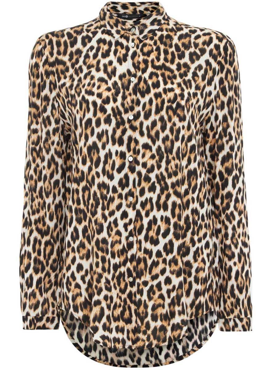 Блузка21411074-1/24681/3329AМодная женская блузка oodji Collection изготовлена из вискозы и оформлена леопардовым принтом. Модель свободного кроя с отложным воротником и длинными рукавами застегивается на пуговицы по всей длине. Манжеты рукавов оснащены застежками-пуговицами. Спинка модели удлинена.