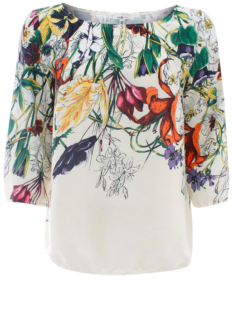 Блузка21404007-3/32735/1219FЖенская блуза oodji Collection с рукавами длиной 3/4 и круглым вырезом горловины выполнена из гладкого полиэстера. Блузка имеет свободный крой, дополнена узкой эластичной резинкой по низу. Манжеты рукавов также дополнены эластичными резинками. Блузка украшена красочным цветочным принтом.