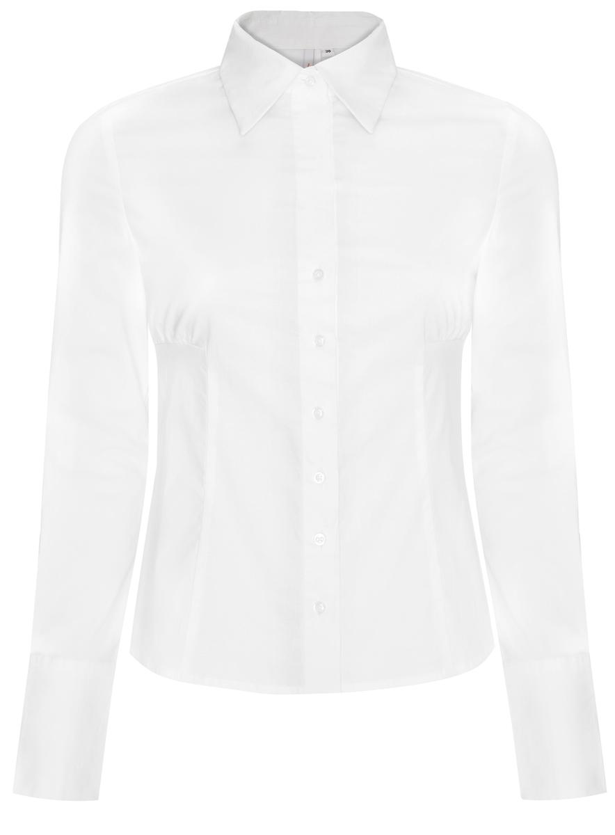 Рубашка11401065-1M/14885/1000NСтильная женская рубашка oodji Ultra выполнена из хлопка с добавлением полиуретана. Модель с отложным воротником и длинными рукавами застегивается на пуговицы по всей длине. Широкие манжеты рукавов оснащены застежками-пуговицами.