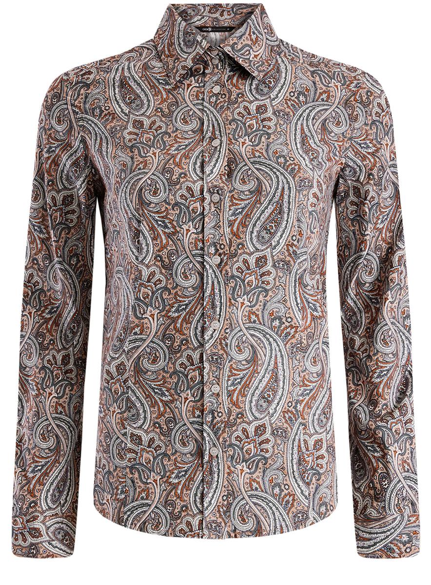Рубашка21402212/14885/3355EМодная женская рубашка oodji Collection, выполненная из хлопка с добавлением полиуретана, оформлена оригинальным принтом. Модель приталенного кроя с отложным воротником и длинными рукавами застегивается на пуговицы по всей длине. Манжеты рукавов оснащены застежками-пуговицами.