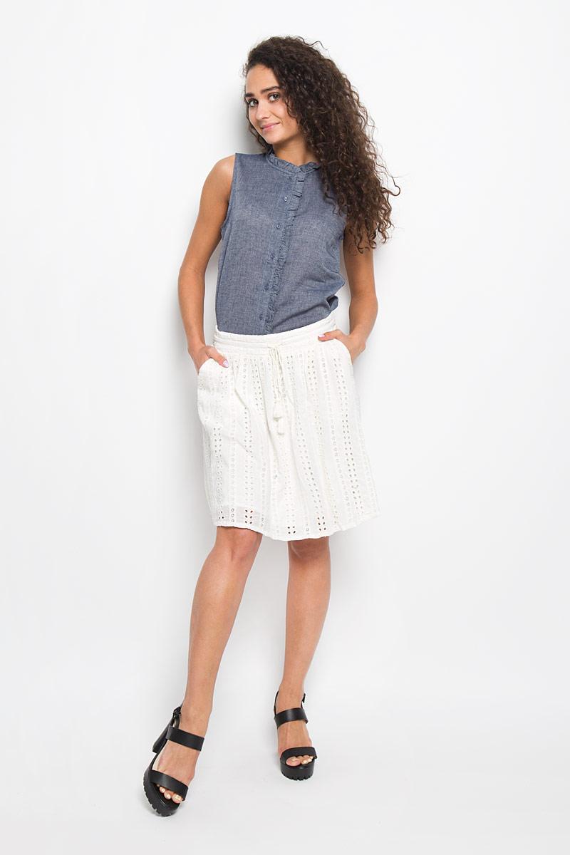 Юбка5513215.00.71_8005Стильная юбка Tom Tailor Denim поможет создать оригинальный женственный образ. Изготовленная из 100% вискозы, она не сковывает движения и обеспечивает удобство при носке. Модель конического кроя имеет пришивной пояс, оформленный небольшими веревочками с кисточками, по спине пояс на резинке. Оформлено изделие нежной вышивкой и боковыми карманами. Модная юбка займет достойное место в вашем гардеробе и будет дарить вам комфорт в течение всего дня.