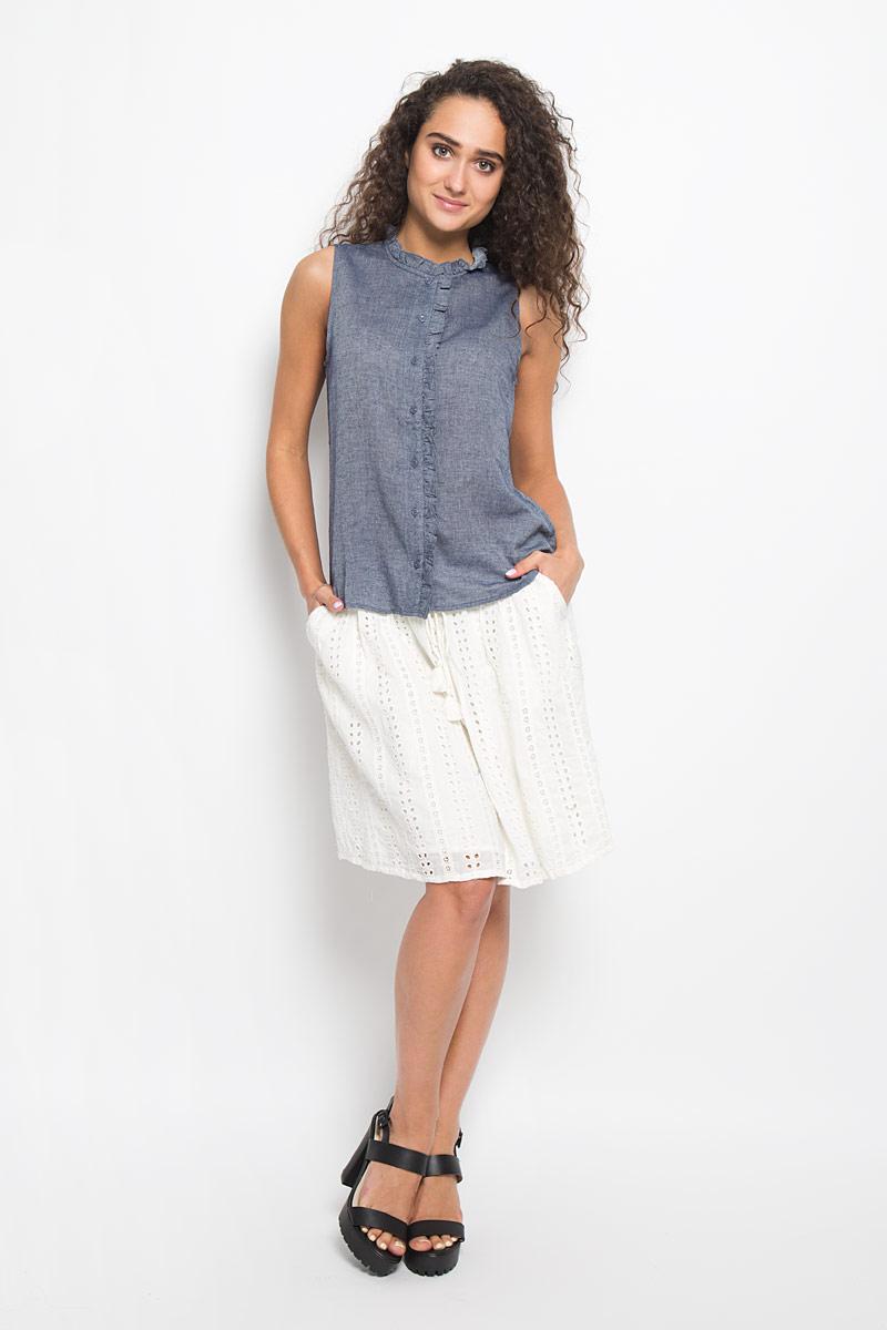 Блузка женская. 2032250.00.712032250.00.71_1000Очаровательная женская блуза Tom Tailor, выполненная из высококачественного хлопка, подчеркнет ваш уникальный стиль и поможет создать оригинальный женственный образ. Модная блузка с фигурным воротником выглядит очень стильно. Модель оформлена пуговицами-застежками и кантом. Такая блузка будет дарить вам комфорт в течение всего дня и послужит замечательным дополнением к вашему гардеробу.