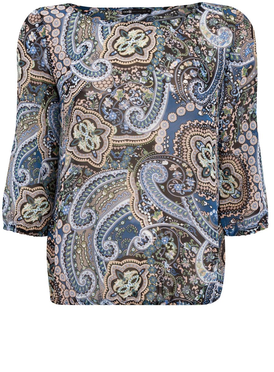 Блузка21404007/15018/7529EМодная женская блузка oodji Collection изготовлена из высококачественного полиэстера. Модель свободного кроя с круглым вырезом горловины и рукавами 3/4 оформлена оригинальным принтом. Края рукавов и низ изделия оснащены резинками.