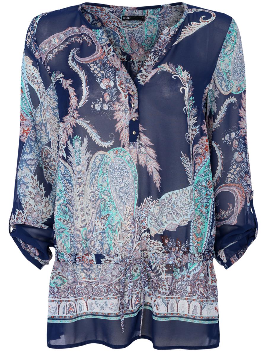 Блузка21401246/17358/7973EЖенская блуза oodji Collection с длинными рукавами и V-образным вырезом горловины выполнена из 100% полиэстера. Блузка имеет свободный крой и застегивается на пуговицы на груди. Манжеты рукавов также застегиваются на пуговицы. Рукава дополнены хлястиками на пуговицах, позволяющими зафиксировать их в закатанном состоянии. Блузка оснащена затягивающимся шнурком-кулиской и оформлена принтом с красочным растительным орнаментом.