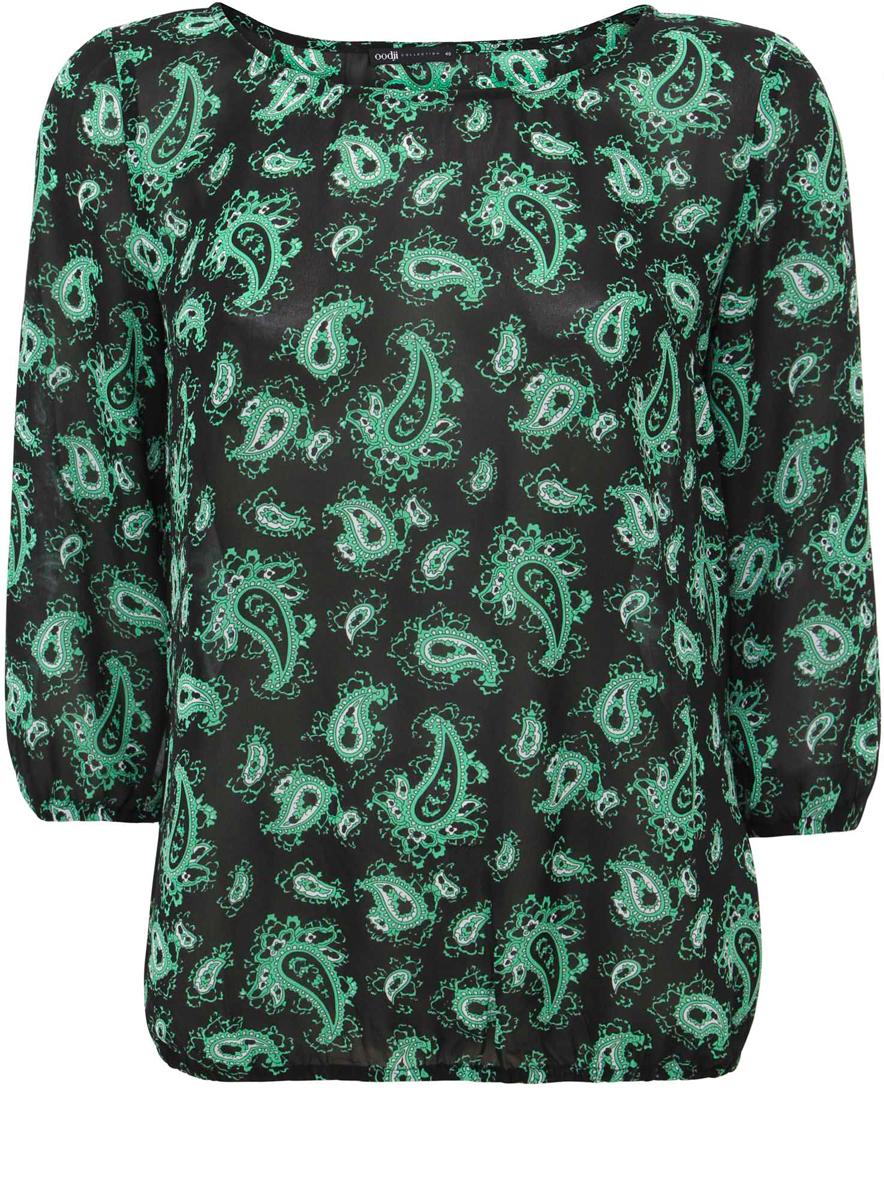 Блузка21404007-5/17358/7962EМодная женская блузка oodji Collection изготовлена из высококачественного полиэстера. Модель свободного кроя с круглым вырезом горловины и рукавами 3/4 оформлена оригинальным принтом. Края рукавов и низ изделия оснащены резинкой.