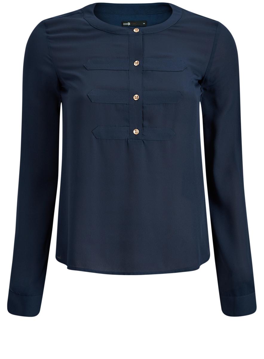 Блузка11411062/43291/7900NМодная женская блузка oodji Ultra изготовлена из высококачественного полиэстера. Модель с круглым вырезом горловины и длинными рукавами застегивается спереди на пуговицы по всей длине. Манжеты рукавов оснащены застежками-пуговицами. Рукава можно подогнуть и зафиксировать с помощью хлястиков с пуговицами.