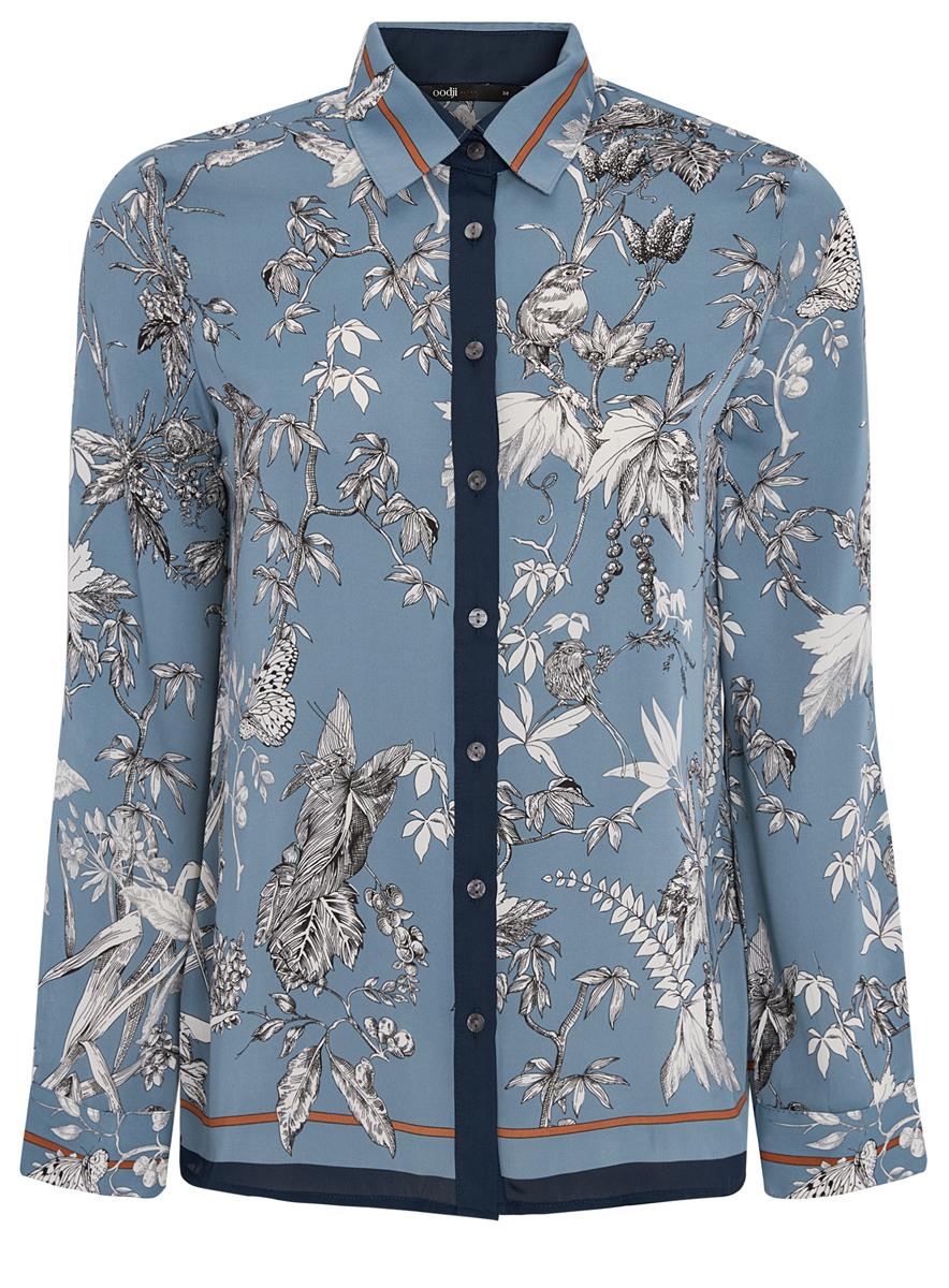 Блузка11400394-4/45626/7412OМодная женская блузка oodji Ultra изготовлена из высококачественного полиэстера. Модель с отложным воротником и длинными рукавами застегивается на пуговицы по всей длине. Манжеты рукавов оснащены застежками-пуговицами. Блузка оформлена оригинальным принтом.
