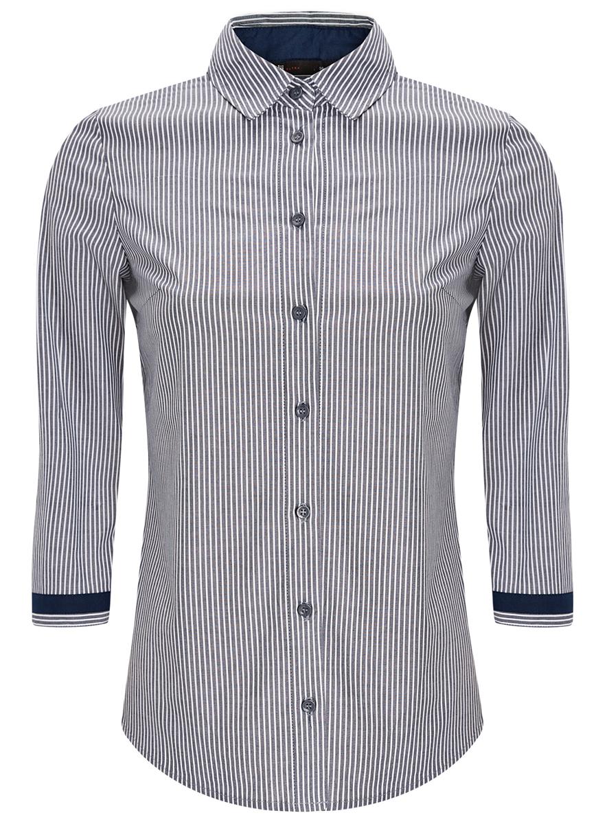 Рубашка11403201-1/43346/7010SСтильная женская рубашка oodji Ultra выполнена из хлопка с добавлением полиуретана. Модель с отложным воротником и рукавами 3/4 застегивается на пуговицы по всей длине. Манжеты рукавов оснащены застежками-пуговицами. Модель оформлена принтом в полоску.