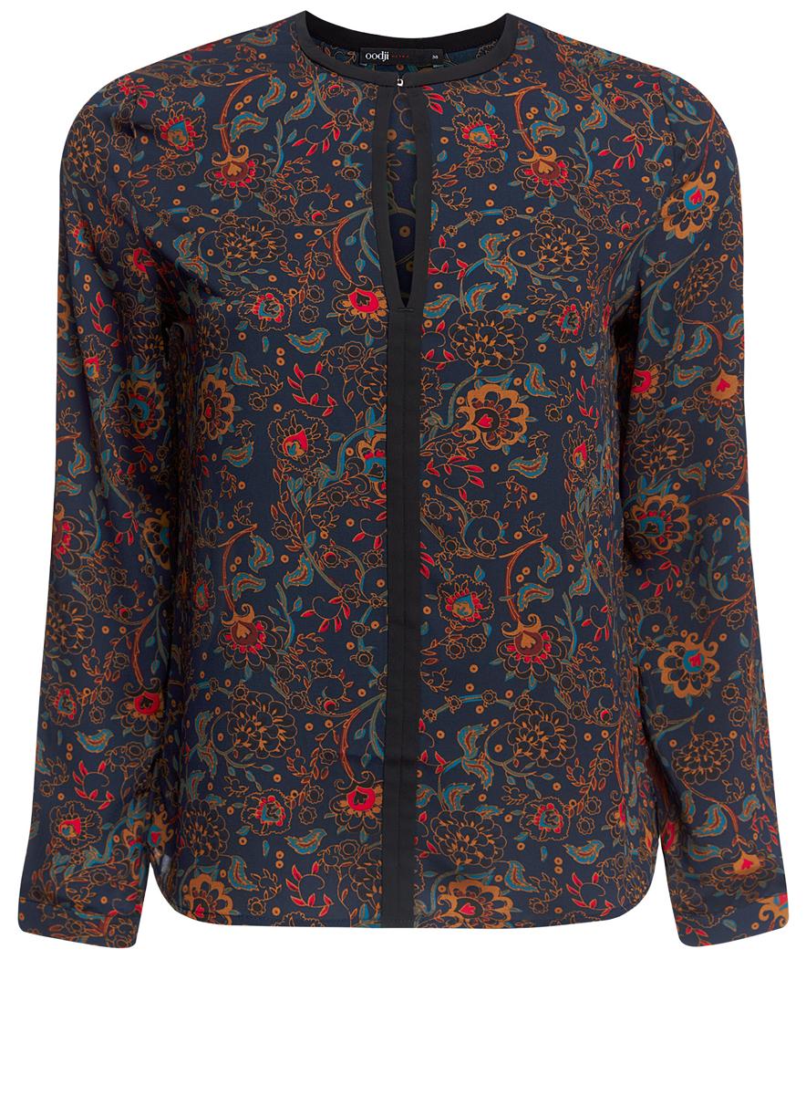 Блузка11411059/43414/7945EЖенская блуза oodji Ultra с длинными рукавами и круглым вырезом горловины выполнена из 100% полиэстера. Блузка имеет свободный крой и застегивается на один крючок спереди. Манжеты рукавов застегиваются на пуговицы. Модель оформлена оригинальным цветочным орнаментом.