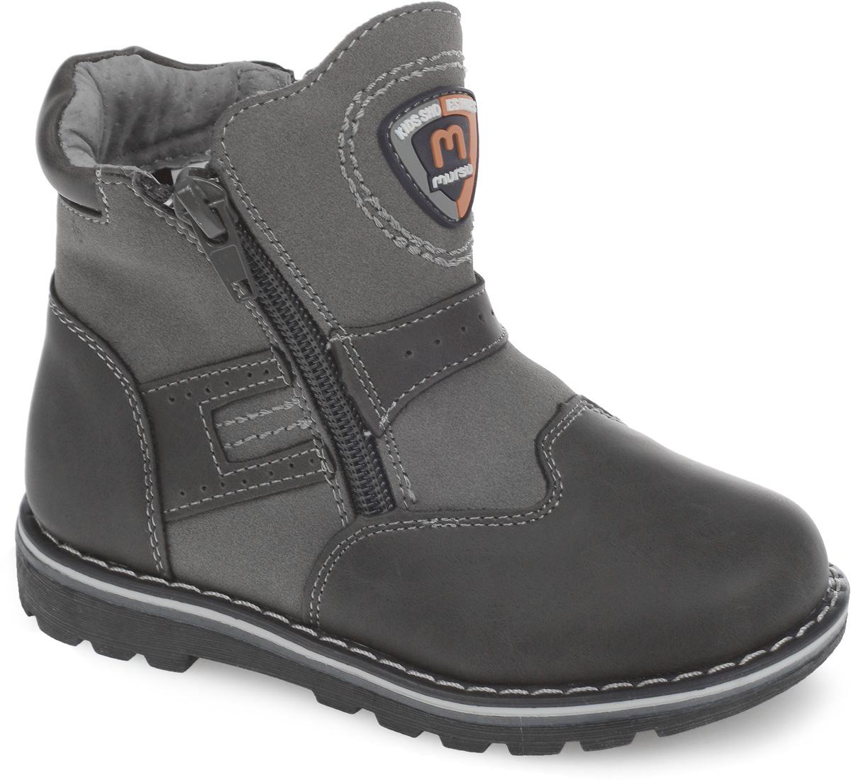 Ботинки для мальчика. 200112200112Модные утепленные ботинки от Mursu согреют ноги вашего мальчика в холодную погоду. Ботинки, выполненные из натуральной кожи, оформлены контрастной прострочкой и фирменной нашивкой, по бокам и на подъеме - декоративной перфорацией, вдоль ранта - крупной прострочкой. Подкладка и стелька из шерсти не дадут ногам замерзнуть. Застежки-молнии, расположенные по бокам, позволяют легко снимать и надевать модель. Подошва с протектором обеспечивает отличное сцепление с любой поверхностью. Стильные ботинки - незаменимая вещь в гардеробе каждого мальчика!