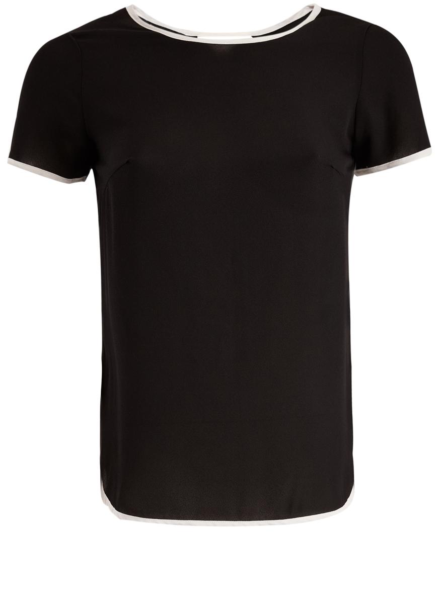 11400417/32823/2912BМодная женская блузка oodji Ultra изготовлена из высококачественного полиэстера. Модель с круглым вырезом горловины и короткими рукавами оформлена на спинке декоративным вырезом. Блузка оформлена контрастной бейкой.