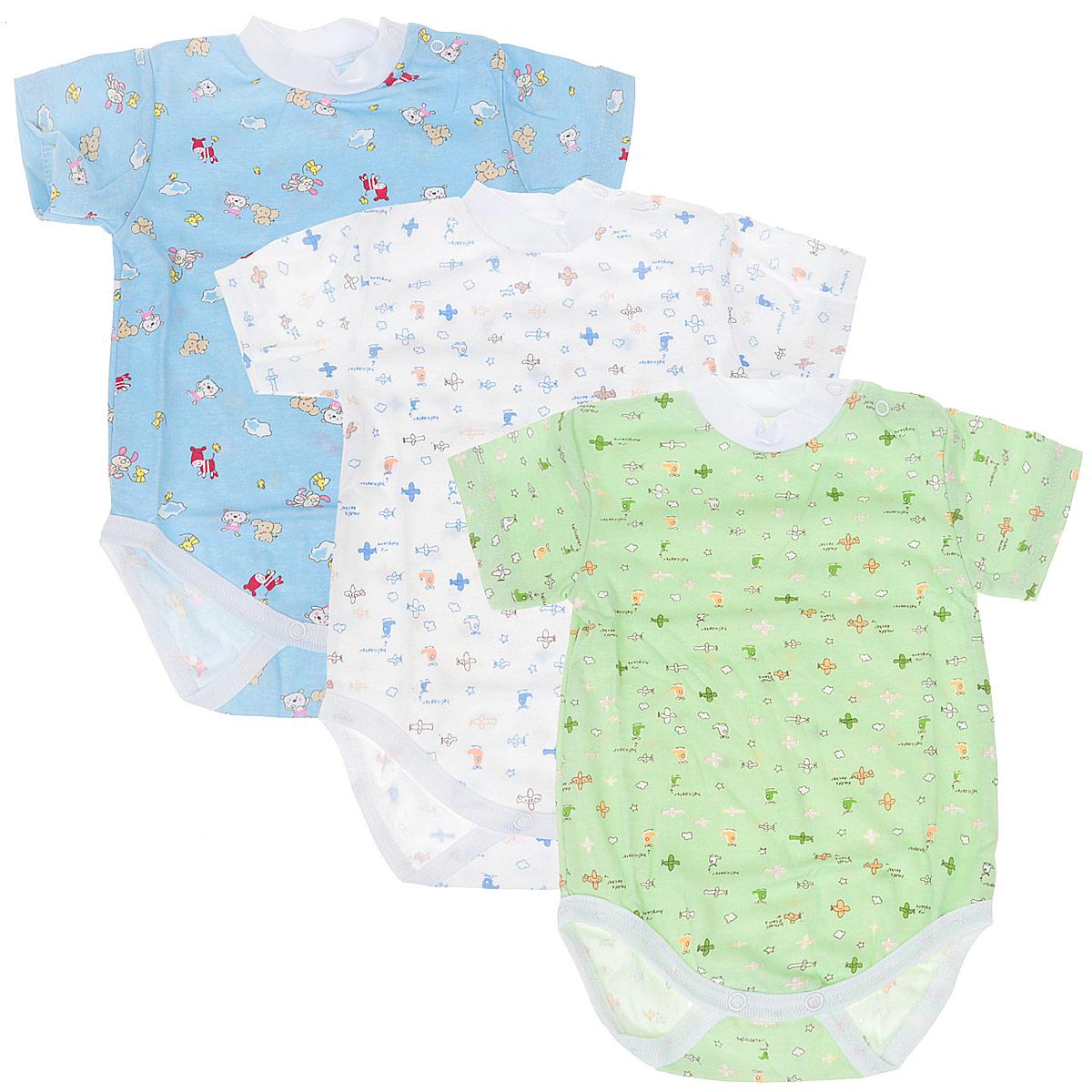 Боди-футболка для мальчика, 3 шт. 33-307м33-307мКомплект Фреш Стайл состоит из трех детских боди для мальчика. Выполненные из натурального хлопка, они мягкие и легкие, не раздражают нежную кожу ребенка и хорошо вентилируются. Боди с воротником-стойкой и короткими рукавами имеют удобные застежки-кнопки на плече и на ластовице, которые помогают легко переодеть младенца или сменить подгузник. Воротник изготовлен из мягкой трикотажной резинки. Украшены боди яркими рисунками. Боди полностью соответствуют особенностям жизни малыша в ранний период, не стесняя и не ограничивая его в движениях!