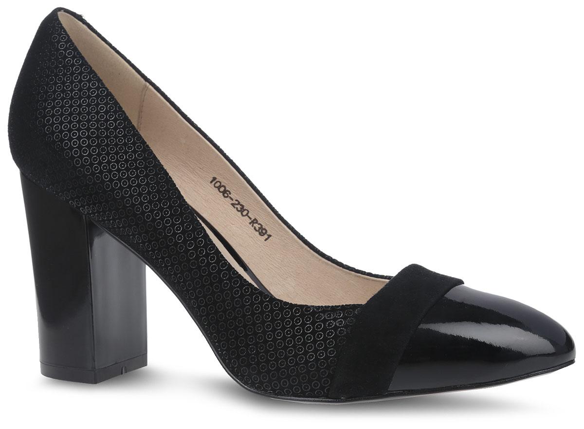 Туфли женские. 1006-230-R3911006-230-R391Элегантные туфли от Sinta Gamma не оставят вас равнодушной благодаря своему дизайну и качеству. Модель изготовлена из натурального велюра и оформлена изящным геометрическим принтом. Мыс оформлен лаковым покрытием. Внутренняя поверхность и стелька из натуральной мягкой кожи предотвратят натирание и гарантируют удобство при ходьбе. Удобный устойчивый каблук и подошва изготовлены из легкой и прочной резины. Рифление подошвы гарантирует отличное сцепление с любой поверхностью. Такие изысканные и стильные туфли подчеркнут вашу женственность и благородный стиль.