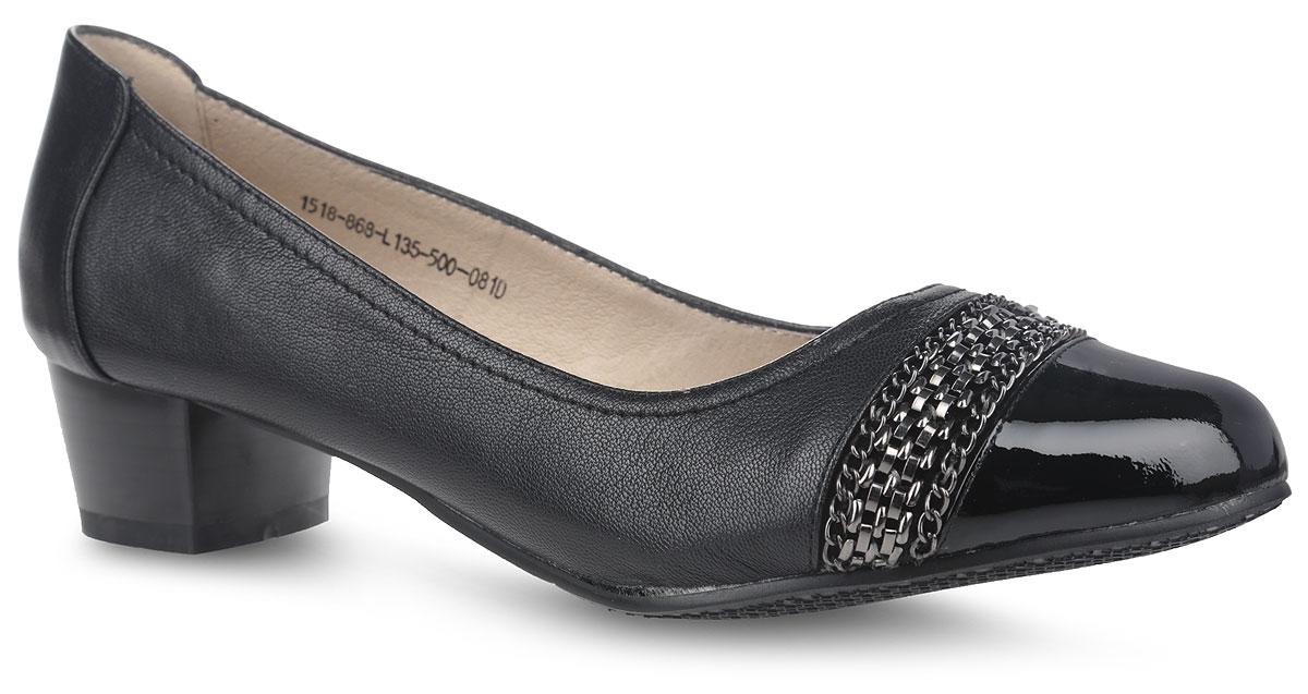 1518-868-L135-500-081DМодные женские туфли от Sinta Gamma покорят вас с первого взгляда. Модель выполнена из натуральной кожи. Мыс оформлен вставкой из натурального лака и декорирован различными цепочками. Стелька и внутренняя поверхность из натуральной кожи обеспечивают комфорт при ходьбе, предотвращают натирание. Стильные туфли подчеркнут вашу яркую индивидуальность, позволят выделиться среди окружающих.