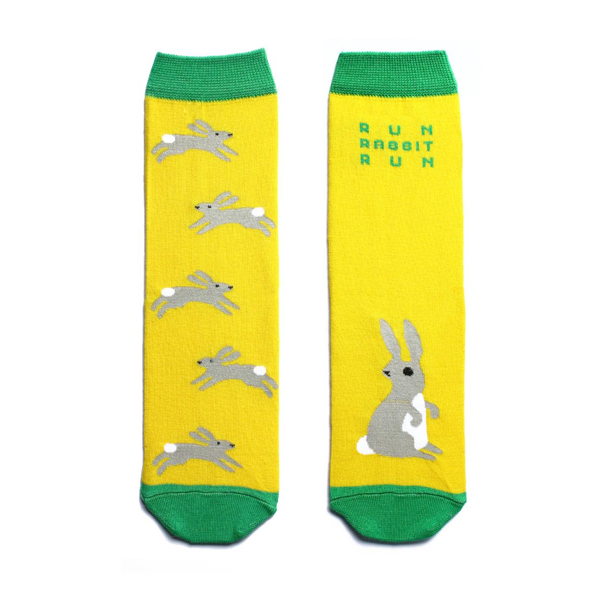 Носки жен. n221n221Яркие носки с несимметричным принтом заяц и надписью run, rabbit, run