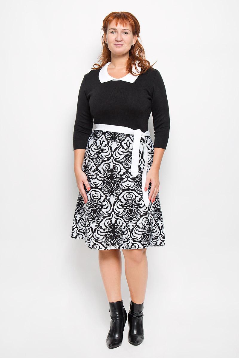 Платье1350Элегантное платье Milana Style выполнено из высококачественной комбинированной пряжи. Такое платье обеспечит вам комфорт и удобство при носке и непременно вызовет восхищение у окружающих. Благодаря содержанию ПАН, платье обладает высокой износостойкостью и отлично сидит по фигуре. Платье-миди с рукавами длинной 3/4 и отложным воротником выгодно подчеркнет все достоинства вашей фигуры. Юбка модели оформлена оригинальным принтом. Платье дополнено поясом. Изысканное платье-миди создаст обворожительный и неповторимый образ. Это модное и комфортное платье станет превосходным дополнением к вашему гардеробу, оно подарит вам удобство и поможет подчеркнуть ваш вкус и неповторимый стиль.