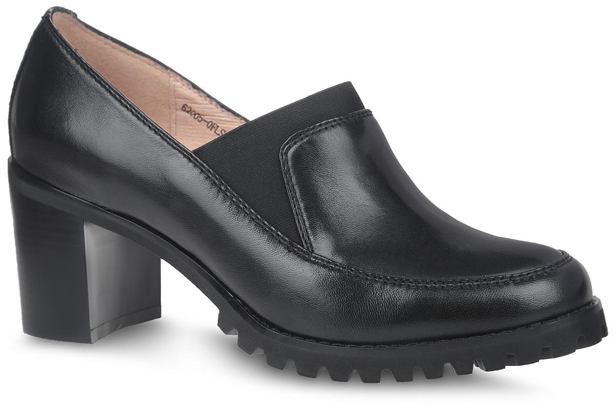 Туфли женские. 62005-0FLS62005-0FLSСтильные туфли туфли от Sinta Gamma не оставят вас равнодушной благодаря своему дизайну и качеству. Модель изготовлена из натуральной кожи и оформлена прострочкой вдоль ранта. На ноге модель фиксируется с помощью эластичной резинки, расположенной на передней части изделия. Подкладка и стелька изготовлены из натуральной мягкой кожи, которая предотвратит натирание и обеспечит комфорт при движении. Удобный каблук и подошва, изготовленные из легкой и прочной резины, дополнены протекторами и рифлением, которые гарантируют отличное сцепление с различными поверхностями. Такие модные и удобные туфли подчеркнут неповторимый стиль и займут достойное место в вашем гардеробе.