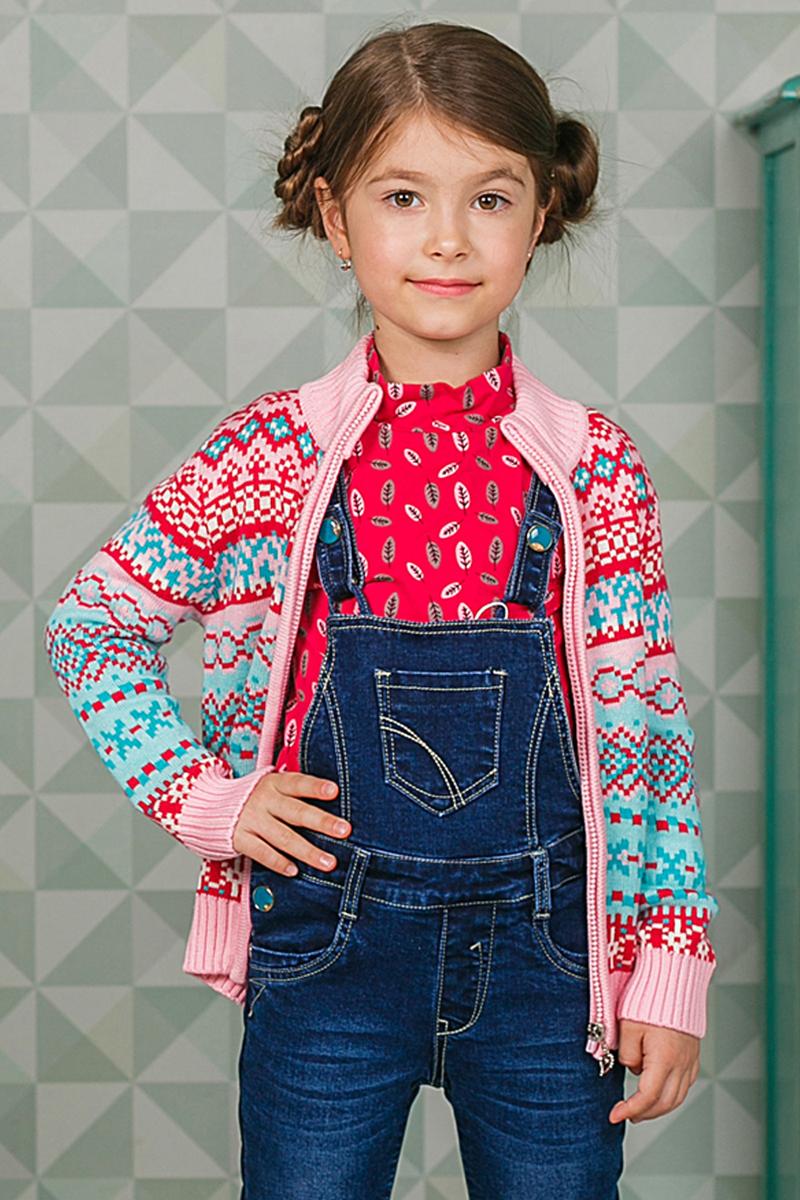 Жакет205425Теплая кофта Sweet Berry для девочки изготовлена из вязаного трикотажа с оригинальным узором. Модель с воротником-стойкой, надежно защищающим от ветра, застегивается на молнию. Воротник, манжеты рукавов и низ кофты связаны широкой резинкой.