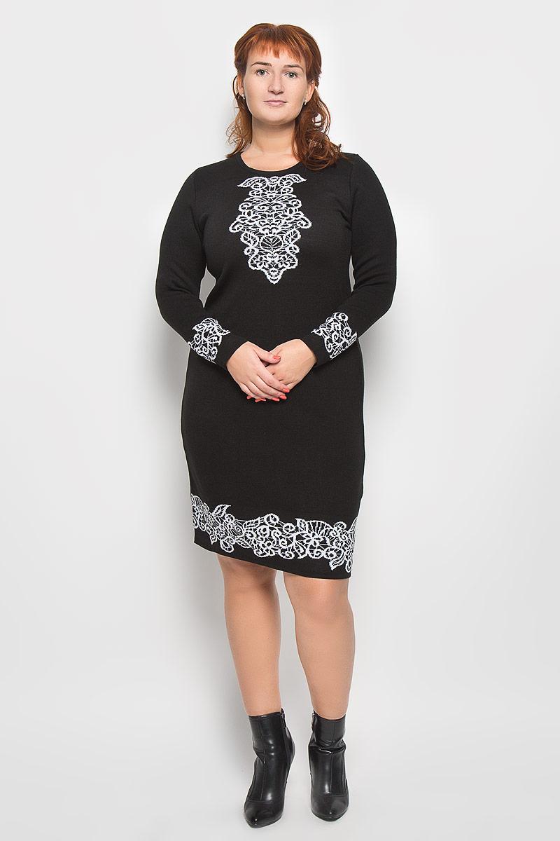 Платье. 3440834408Стильное платье Milana Style подчеркнет ваш уникальный стиль и поможет создать оригинальный женственный образ. Модель, изготовленная из ПАН-волокна с добавлением шерсти, приятная на ощупь, не сковывает движения и обеспечивает комфорт. Платье-миди с круглым вырезом горловины и длинными рукавами придется вам по душе. Нижняя часть модели, манжеты рукавов и на груди модель оформлена вязаным узором. Такое платье станет стильным дополнением к вашему гардеробу.