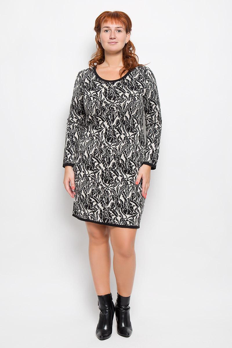 Платье. 13571357Элегантное платье Milana Style выполнено из высококачественной комбинированной пряжи. Такое платье обеспечит вам комфорт и удобство при носке и непременно вызовет восхищение у окружающих. Благодаря содержанию ПАН, платье обладает высокой износостойкостью и отлично сидит по фигуре. Модель средней длины с длинными рукавами и круглым вырезом горловины выгодно подчеркнет все достоинства вашей фигуры. Платье оформлено контрастным цветочным орнаментом. Изысканное платье-миди создаст обворожительный и неповторимый образ. Это модное и комфортное платье станет превосходным дополнением к вашему гардеробу, оно подарит вам удобство и поможет подчеркнуть ваш вкус и неповторимый стиль.