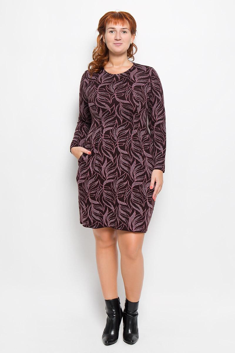 Платье1083Элегантное платье Milana Style выполнено из высококачественной комбинированной пряжи. Такое платье обеспечит вам комфорт и удобство при носке и непременно вызовет восхищение у окружающих. Благодаря содержанию ПАН, платье обладает высокой износостойкостью и отлично сидит по фигуре. Модель средней длины с длинными рукавами и круглым вырезом горловины выгодно подчеркнет все достоинства вашей фигуры. Изделие застегивается на застежку-молнию на спинке, оснащено двумя втачными карманами. Платье оформлено узором в виде контрастного растительного орнамента, на талии дополнено встречными складками. Изысканное платье-миди создаст обворожительный и неповторимый образ. Это модное и комфортное платье станет превосходным дополнением к вашему гардеробу, оно подарит вам удобство и поможет подчеркнуть ваш вкус и неповторимый стиль.