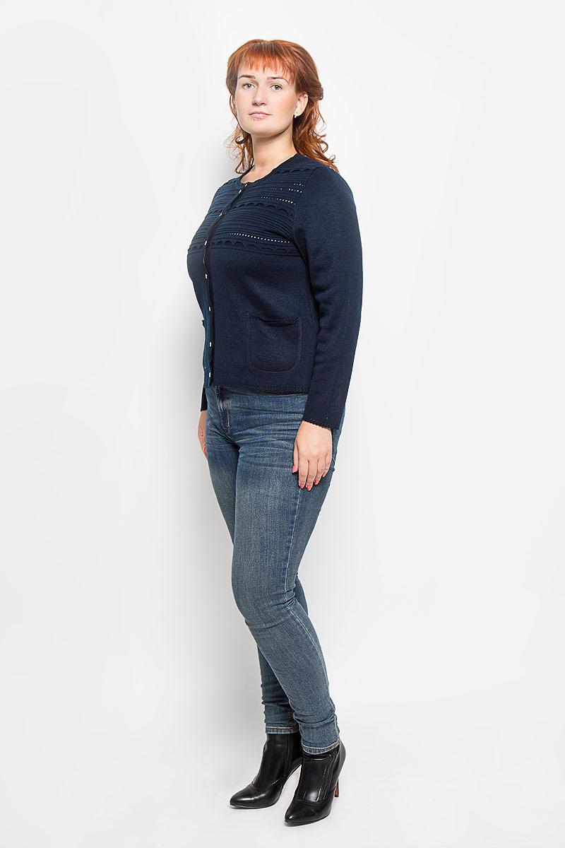 Кардиган1301Женский кардиган Milana Style, изготовленный из ПАН-волокна с добавлением шерсти, отлично дополнит ваш образ. Изделие мягкое и приятное на ощупь, не сковывает движения, хорошо сохраняет тепло. Модель с круглым вырезом горловины и длинными рукавами застегивается на пуговицы по всей длине. Спереди расположены два накладных кармана. Кардиган украшен перфорацией. Кардиган станет замечательным дополнением к вашему гардеробу. В нем вы всегда будете чувствовать себя уютно и комфортно!
