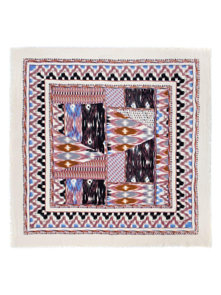 ПлатокLBL33-286Женский платок Labbra, изготовленный из вискозы с добавлением шерсти, мягкий и приятный на ощупь. Изделие оформлено оригинальным принтом, края - бахромой.