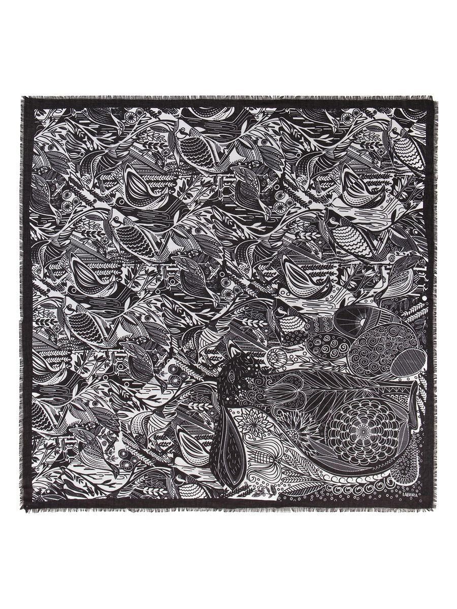 ПлатокLFA33-542Женский платок Labbra, изготовленный из вискозы с добавлением шерсти, мягкий и приятный на ощупь. Изделие оформлено оригинальным принтом. Края модели оформлены бахромой.