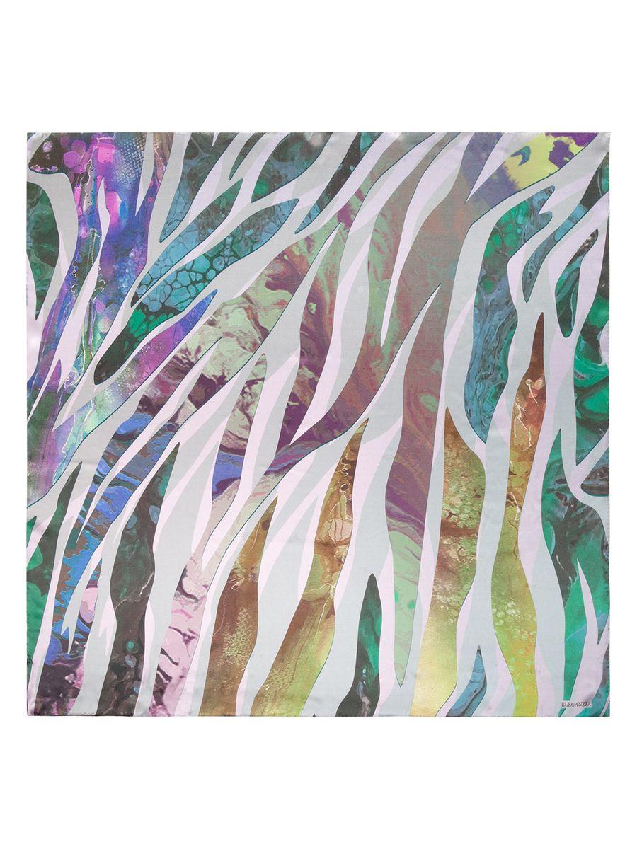 KA03-8128Женский платок Eleganzza, изготовленный из шелка, мягкий и приятный на ощупь. Изделие оформлено оригинальным принтом.