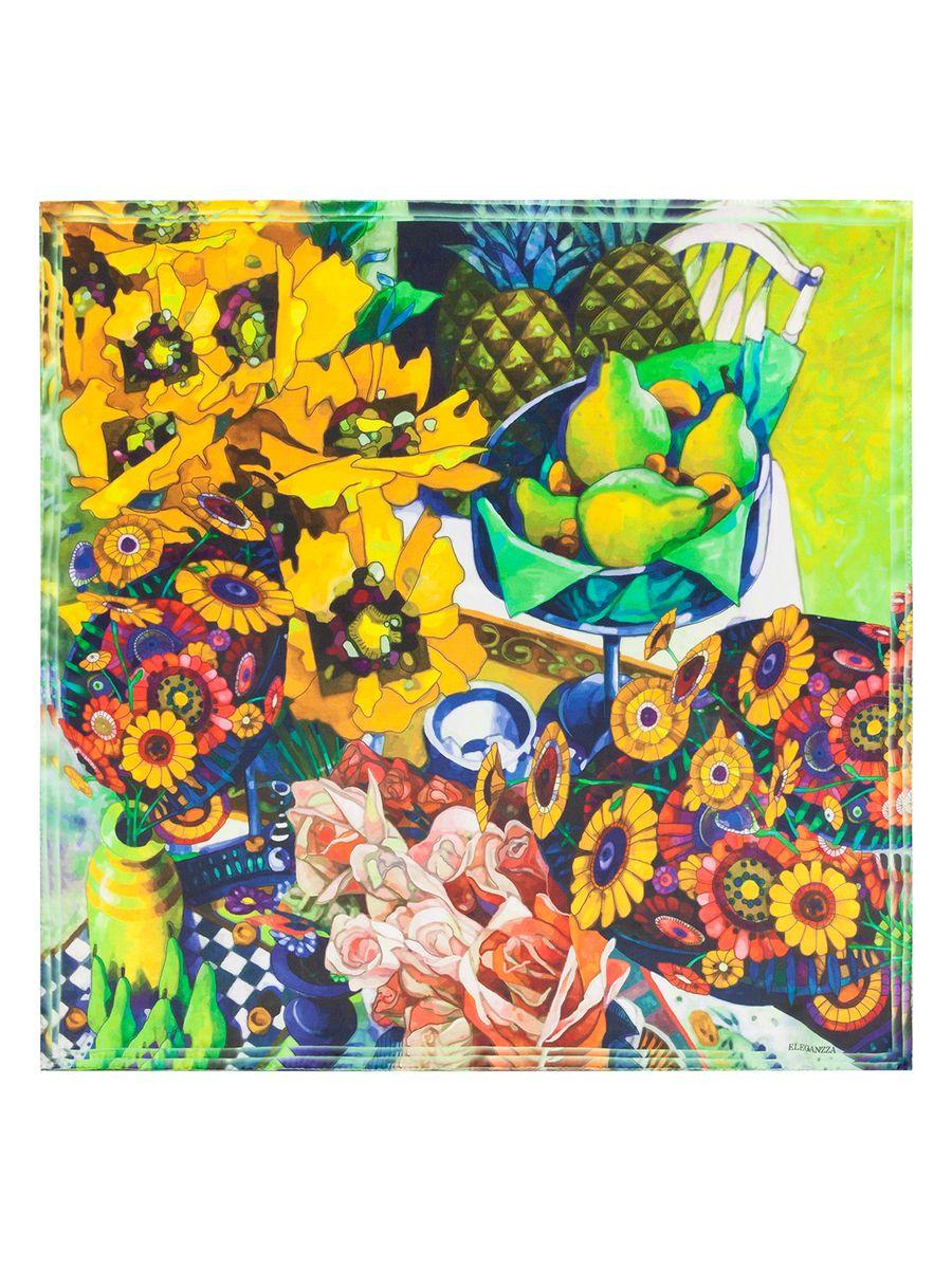 ПлатокKA03-8123Женский платок Eleganzza, изготовленный из шелка, мягкий и приятный на ощупь. Изделие оформлено принтом с изображением цветов и фруктов.
