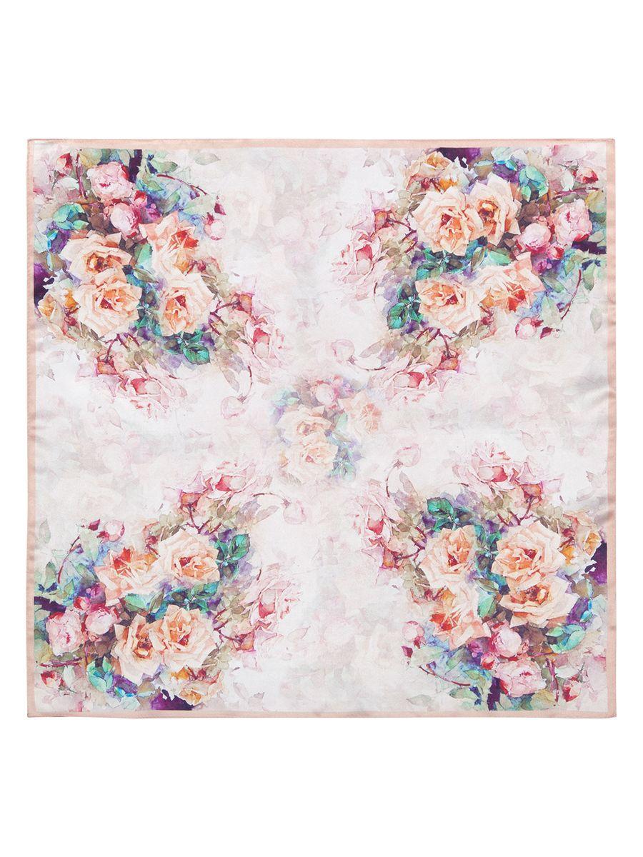 ПлатокSS03-7846Женский платок Eleganzza, изготовленный из шелка, мягкий и приятный на ощупь. Изделие оформлено цветочным принтом.