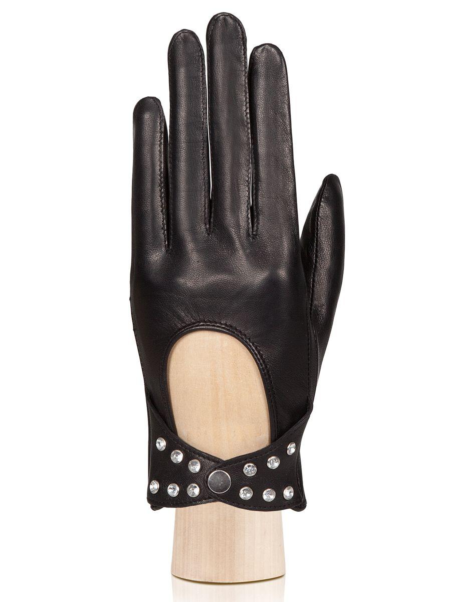Перчатки жен. HP02751HP02751Перчатки женские торговой марки ELEGANZZA из натуральной кожи ягненка. Производство Италия. Подкладка: без подкладки. Отделка - декоративные клепки на манжете. Длина манжеты от нижней точки большого пальца до края перчаток - 2.7 см. Длина пальцев - средняя.