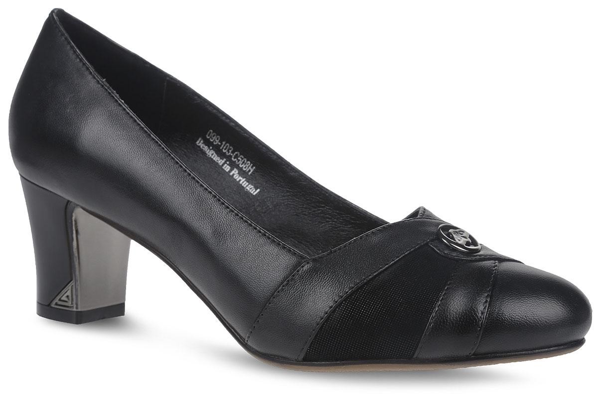 099-103-C508HСтильные женские туфли от Sinta Gamma покорят вас с первого взгляда. Модель выполнена из натуральной кожи. Устойчивый каблук и вытянутый закругленный мыс оформлены металлическими пластинами с логотипом бренда. Стелька и внутренняя поверхность из натуральной кожи обеспечивают комфорт при ходьбе, предотвращают натирание. В таких туфлях вашим ногам будет комфортно и уютно.