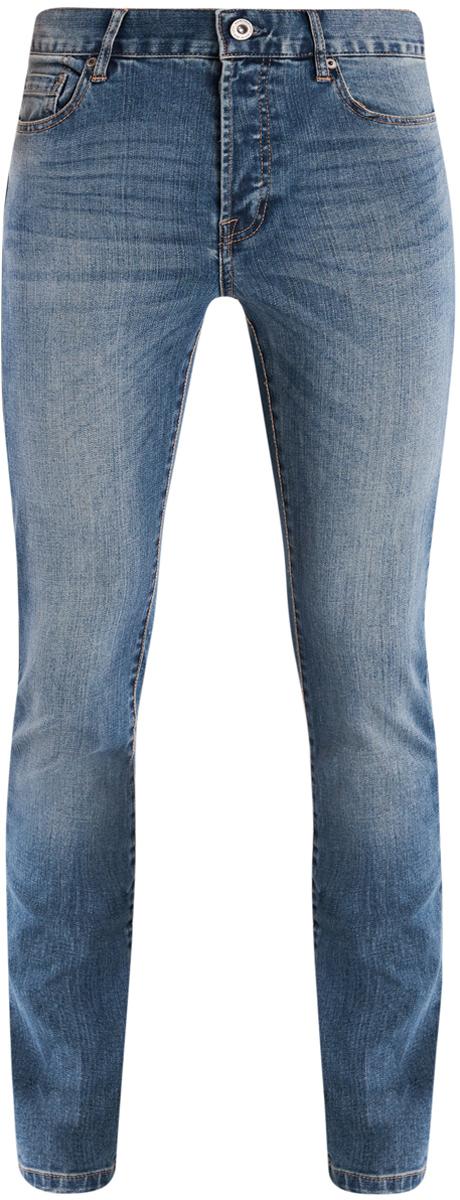 Джинсы6B120038M/45807/7500WСтильные мужские джинсы oodji Basic изготовлены из хлопка с добавлением полиэстера и полиуретана. Джинсы-слим средней посадки застегиваются на пуговицы. На поясе имеются шлевки для ремня. Спереди модель дополнена двумя втачными карманами и одним небольшим накладным кармашком, а сзади - двумя накладными карманами. Модель оформлена эффектом потертости и перманентными складками.