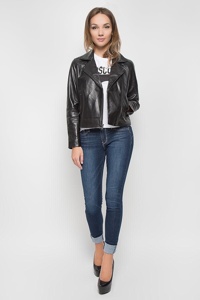 Куртка женская. 17254000701725400070Кожаная куртка прямого стандартного покроя.