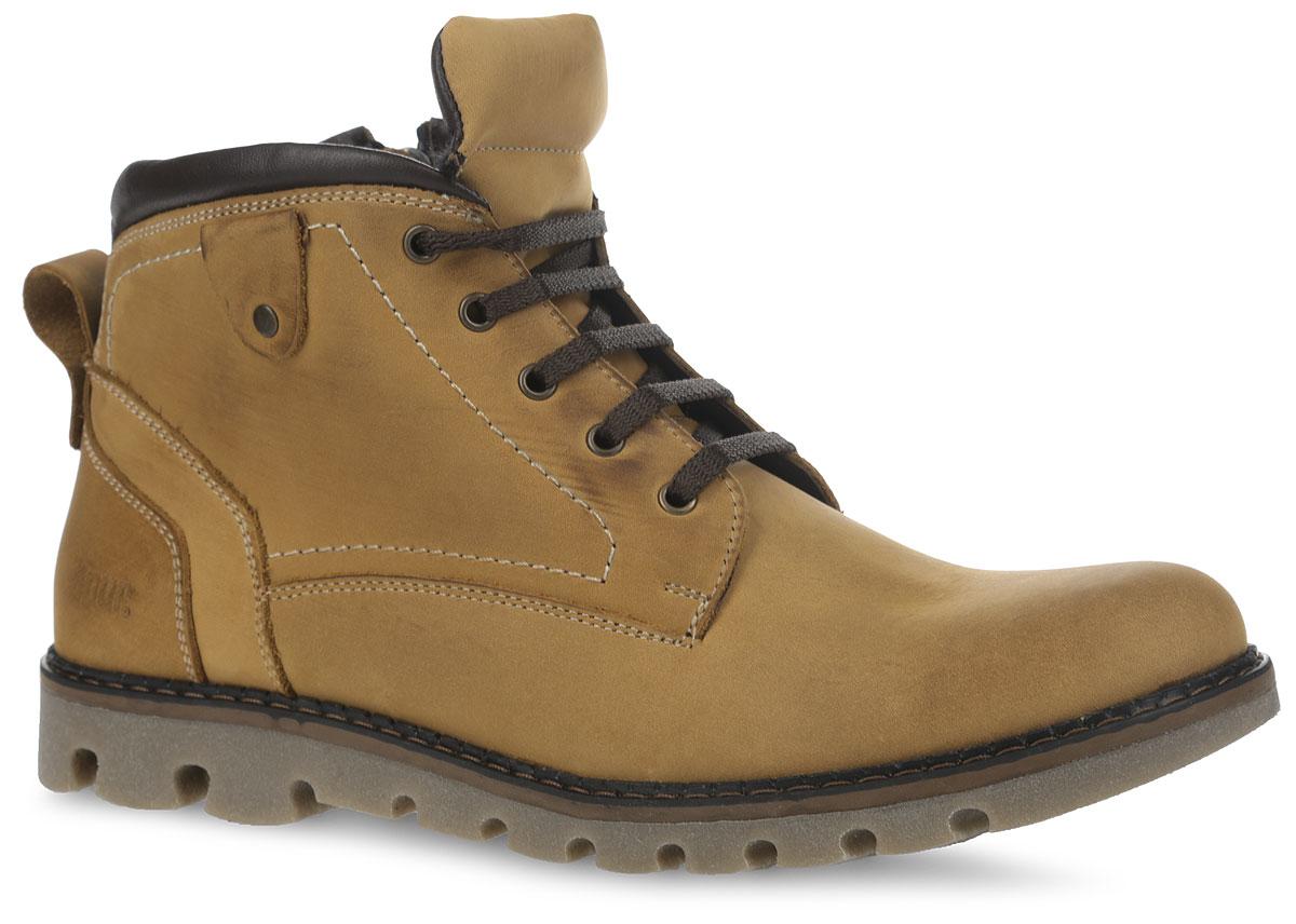42RS_580_60_5_CAMEL.NСтильные мужские ботинки от Spur заинтересуют вас своим дизайном с первого взгляда. Модель изготовлена из натурального нубука и оформлена прострочкой. На ноге изделие фиксируется с помощью боковой молнии, а объем регулируется с помощью удобной шнуровки. Полужесткий задник защищает от ударов при движении, а ярлычок на нем облегчит надеванием модели. Мягкий кант создает комфорт при ходьбе. Подкладка и стелька, изготовленные из искусственной шерсти, защитят ноги от холода и обеспечат уют. Подошва изготовлена из легкого и прочного ТЭП материала. Протекторы с рифлением гарантируют отличное сцепление с различными поверхностями. Такие модные и теплые ботинки станут незаменимой вещью в вашем гардеробе.