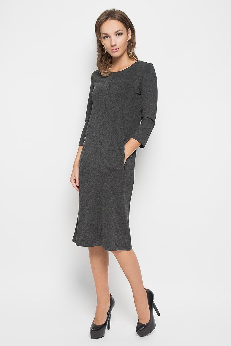 ПлатьеB446Элегантное платье Baon выполнено из высококачественного плотного трикотажа. Такое платье обеспечит вам комфорт и удобство при носке и непременно вызовет восхищение у окружающих. Платье-миди с рукавами 7/8 и круглым вырезом горловины выгодно подчеркнет все достоинства вашей фигуры. Модель дополнена двумя втачными карманами на застежках-молниях. Изысканное платье-миди создаст обворожительный и неповторимый образ. Это модное и комфортное платье станет превосходным дополнением к вашему гардеробу, оно подарит вам удобство и поможет подчеркнуть ваш вкус и неповторимый стиль.