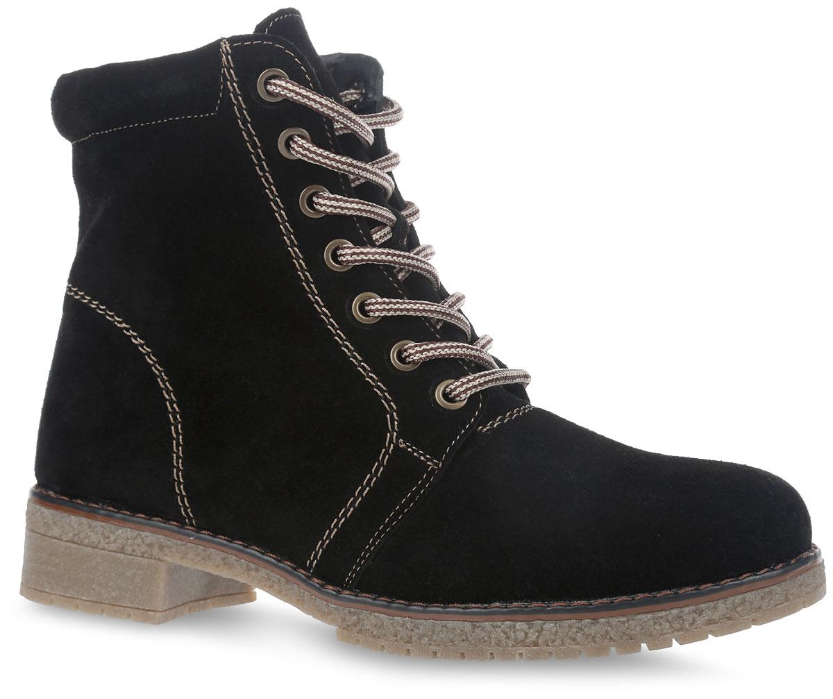 14ST_500_BLACK.VСтильные женские ботинки от Spur заинтересуют вас своим дизайном с первого взгляда. Модель изготовлена из качественного спилка и оформлена контрастной прострочкой, вдоль ранта - крупной прострочкой. На ноге изделие фиксируется с помощью боковой молнии, а объем регулируется с помощью удобной шнуровки. Полужесткий задник защищает от ударов при движении. Мягкий манжет создает комфорт при ходьбе. Подкладка и стелька, изготовленные из искусственной шерсти, защитят ноги от холода и обеспечат уют. Подошва изготовлена из прочного ТЭП материала и дополнена небольшим каблуком. Рифление подошвы и каблука гарантирует отличное сцепление с различными поверхностями. Такие модные и теплые ботинки станут незаменимой вещью в вашем гардеробе.
