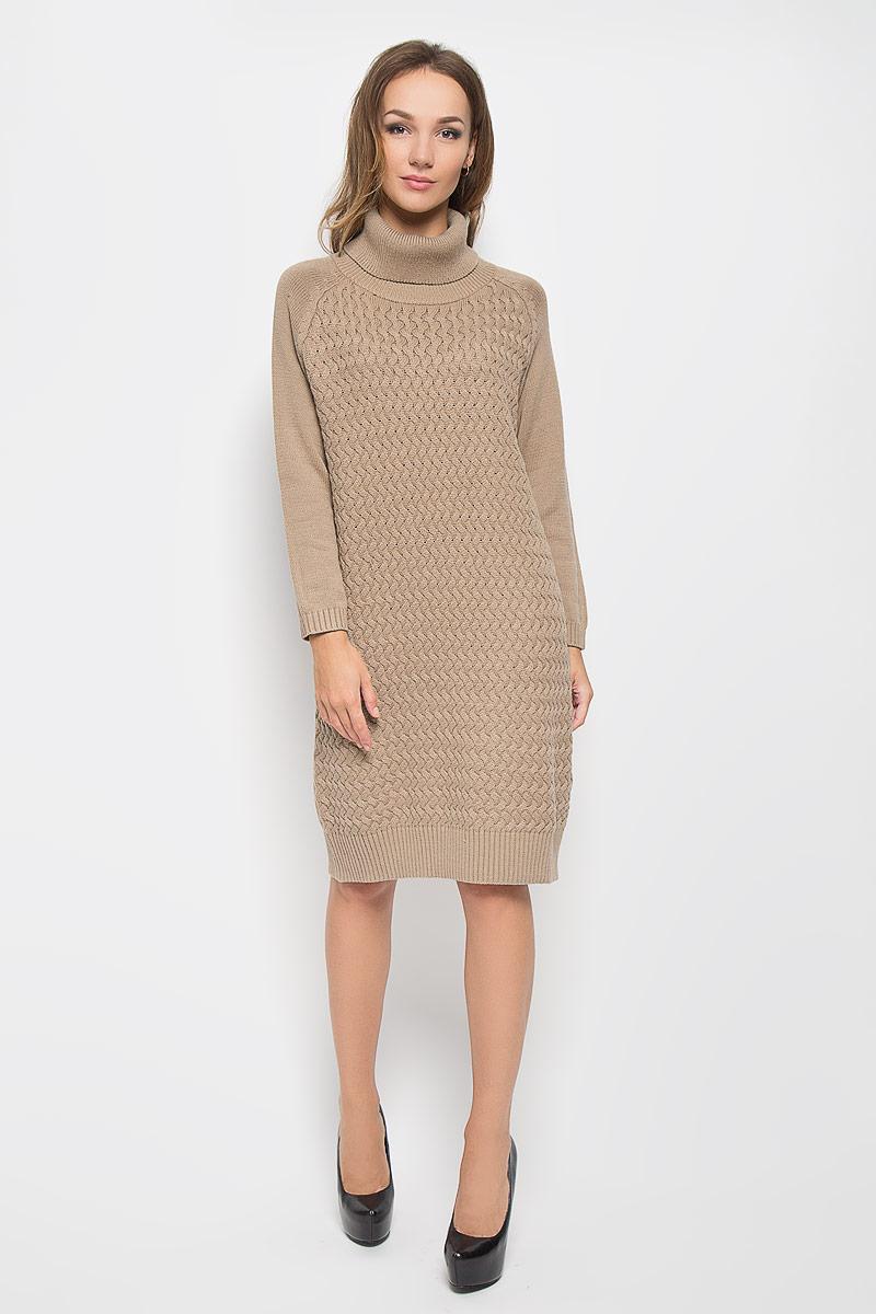 Платье. B415B415Вязаное платье Baon, изготовленное из высококачественного комбинированного материала, поможет создать привлекательный образ. Материал изделия мягкий, тактильно приятный, позволяет коже дышать. Модель с воротником-гольф и рукавами реглан. Воротник, низ рукавов и низ изделия связаны резинкой. Платье оформлено оригинальным узором. Такое платье будет дарить вам комфорт в течение всего дня, и послужит замечательным дополнением к вашему гардеробу.