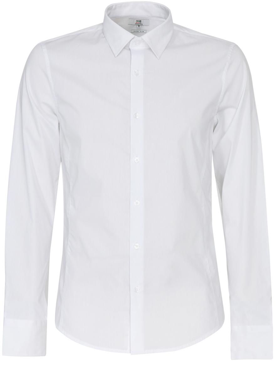 Рубашка3B140000M/34146N/1000NМужская рубашка oodji Basic выполнена из эластичного хлопка с добавлением полиамида. Рубашка кроя extra slim с длинными рукавами и отложным воротником застегивается на пуговицы спереди. Манжеты рукавов также застегиваются на пуговицы.